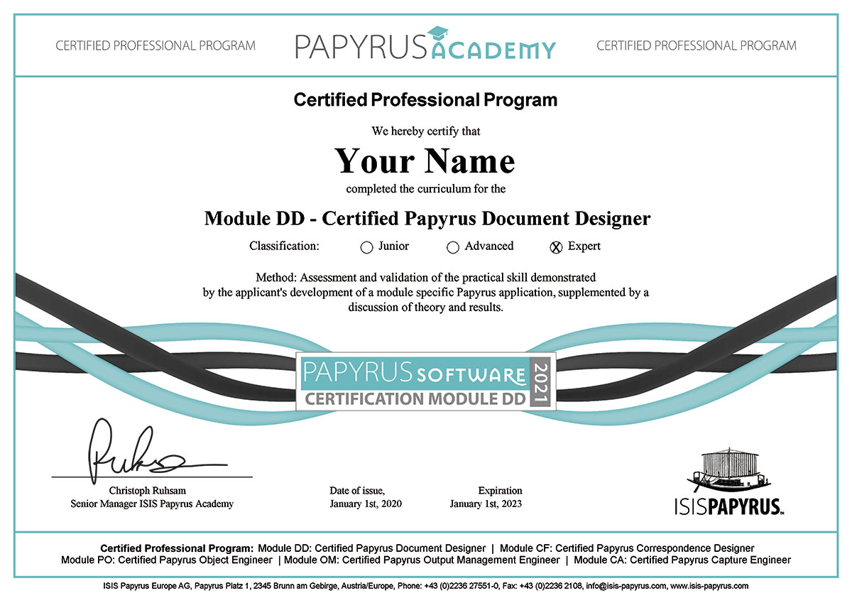 Papyrus Certification