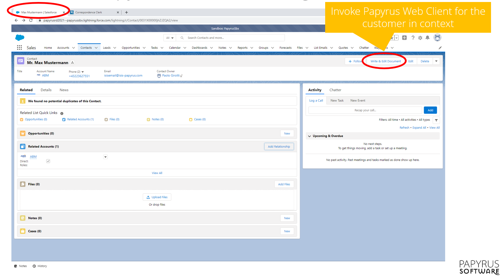 Papyrus integration with Salesforce