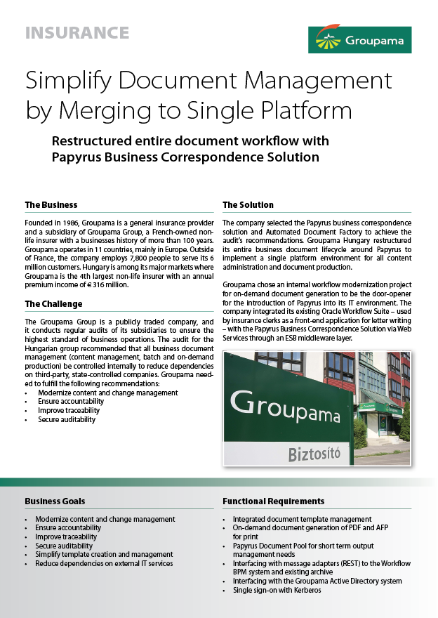 Papyrus Software - Groupama Case Study